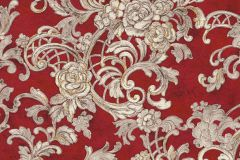 34077-3 cikkszámú tapéta.Barokk-klasszikus,különleges felületű,különleges motívumos,metál-fényes,természeti mintás,textil hatású,virágmintás,bronz,piros-bordó,vajszín,súrolható,vlies tapéta