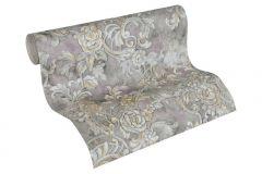 34077-4 cikkszámú tapéta.Barokk-klasszikus,különleges felületű,különleges motívumos,metál-fényes,rajzolt,textil hatású,virágmintás,bronz,ezüst,lila,szürke,vajszín,súrolható,vlies tapéta