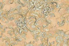 34077-5 cikkszámú tapéta.Barokk-klasszikus,különleges felületű,különleges motívumos,rajzolt,textil hatású,virágmintás,bézs-drapp,bronz,zöld,súrolható,vlies tapéta