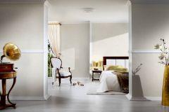 34079-7 cikkszámú tapéta.Dekor,egyszínű,különleges felületű,metál-fényes,textil hatású,fehér,vajszín,súrolható,illesztés mentes,vlies tapéta
