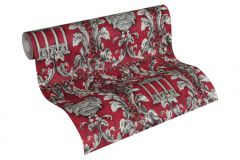 34086-1 cikkszámú tapéta.Barokk-klasszikus,különleges felületű,különleges motívumos,metál-fényes,rajzolt,textil hatású,ezüst,fehér,piros-bordó,szürke,súrolható,vlies tapéta