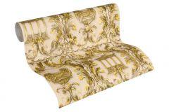 34086-4 cikkszámú tapéta.Barokk-klasszikus,különleges felületű,különleges motívumos,metál-fényes,rajzolt,természeti mintás,textil hatású,arany,bronz,vajszín,súrolható,vlies tapéta
