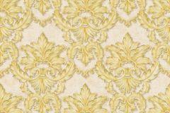34370-1 cikkszámú tapéta.Barokk-klasszikus,különleges felületű,különleges motívumos,metál-fényes,arany,vajszín,súrolható,vlies tapéta