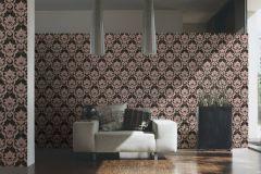 34370-2 cikkszámú tapéta.Barokk-klasszikus,különleges felületű,metál-fényes,bronz,fehér,fekete,pink-rózsaszín,szürke,súrolható,vlies tapéta