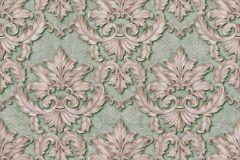 34370-5 cikkszámú tapéta.Barokk-klasszikus,különleges felületű,különleges motívumos,metál-fényes,bronz,pink-rózsaszín,zöld,súrolható,vlies tapéta
