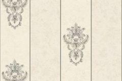 34371-4 cikkszámú tapéta.Barokk-klasszikus,csíkos,különleges felületű,különleges motívumos,metál-fényes,ezüst,vajszín,zöld,súrolható,vlies tapéta