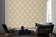 34372-1 cikkszámú tapéta.Barokk-klasszikus,különleges felületű,különleges motívumos,metál-fényes,arany,fehér,vajszín,súrolható,vlies tapéta