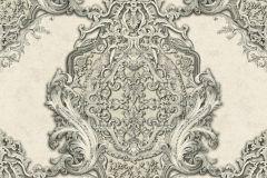 34372-4 cikkszámú tapéta.Barokk-klasszikus,különleges felületű,különleges motívumos,metál-fényes,ezüst,vajszín,zöld,súrolható,vlies tapéta