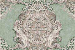 34372-5 cikkszámú tapéta.Barokk-klasszikus,különleges felületű,különleges motívumos,metál-fényes,bronz,pink-rózsaszín,vajszín,zöld,súrolható,vlies tapéta