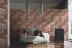 34374-2 cikkszámú tapéta.Csíkos,különleges felületű,különleges motívumos,rajzolt,retro,fehér,narancs-terrakotta,pink-rózsaszín,piros-bordó,vajszín,súrolható,vlies tapéta