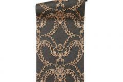 34777-2 cikkszámú tapéta.Barokk-klasszikus,különleges felületű,különleges motívumos,metál-fényes,bronz,fekete,szürke,vajszín,súrolható,vlies tapéta