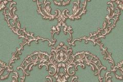 34777-3 cikkszámú tapéta.Barokk-klasszikus,különleges felületű,különleges motívumos,metál-fényes,barna,bronz,vajszín,zöld,súrolható,vlies tapéta