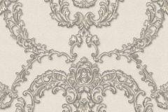 34777-4 cikkszámú tapéta.Barokk-klasszikus,különleges felületű,különleges motívumos,metál-fényes,bézs-drapp,bronz,szürke,vajszín,súrolható,vlies tapéta