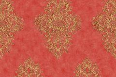 35110-6 cikkszámú tapéta.Barokk-klasszikus,különleges felületű,metál-fényes,arany,piros-bordó,súrolható,vlies tapéta