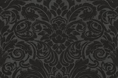 30545-5 cikkszámú tapéta.Barokk-klasszikus,gyöngyös,metál-fényes,fekete,szürke,vlies tapéta
