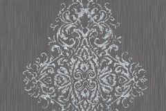 31945-4 cikkszámú tapéta.Barokk-klasszikus,valódi textil,ezüst,szürke,gyengén mosható,vlies tapéta
