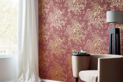 30657-6 cikkszámú tapéta.Barokk-klasszikus,csillámos,különleges felületű,különleges motívumos,rajzolt,valódi textil,virágmintás,arany,piros-bordó,vlies tapéta
