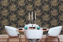 30657-7 cikkszámú tapéta.Barokk-klasszikus,csillámos,különleges felületű,különleges motívumos,rajzolt,valódi textil,virágmintás,arany,fekete,vlies tapéta
