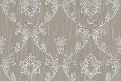 30658-3 cikkszámú tapéta.Barokk-klasszikus,csillámos,különleges felületű,különleges motívumos,valódi textil,barna,ezüst,vlies tapéta