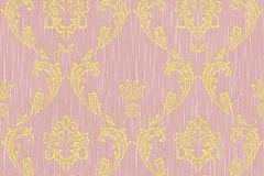 30658-5 cikkszámú tapéta.Barokk-klasszikus,csillámos,különleges felületű,különleges motívumos,valódi textil,arany,pink-rózsaszín,vlies tapéta