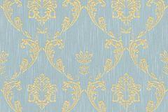 30658-6 cikkszámú tapéta.Barokk-klasszikus,csillámos,különleges felületű,különleges motívumos,valódi textil,arany,kék,vlies tapéta