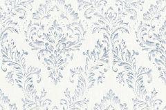 30659-1 cikkszámú tapéta.Barokk-klasszikus,csillámos,különleges felületű,különleges motívumos,valódi textil,ezüst,fehér,kék,vlies tapéta