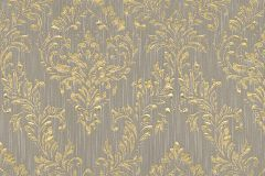 30659-3 cikkszámú tapéta.Barokk-klasszikus,csillámos,különleges felületű,különleges motívumos,valódi textil,arany,szürke,vlies tapéta