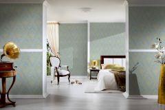 30659-5 cikkszámú tapéta.Barokk-klasszikus,csillámos,különleges felületű,különleges motívumos,valódi textil,arany,kék,vlies tapéta