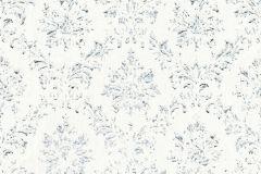 30662-1 cikkszámú tapéta.Barokk-klasszikus,csillámos,különleges felületű,különleges motívumos,valódi textil,ezüst,fehér,kék,vlies tapéta