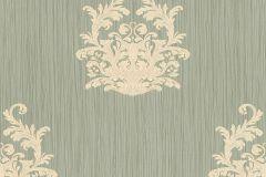 95861-2 cikkszámú tapéta.Barokk-klasszikus,csíkos,különleges felületű,különleges motívumos,textilmintás,szürke,vajszínű,zöld,súrolható,vlies tapéta