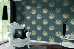 95861-5 cikkszámú tapéta.Barokk-klasszikus,csillámos,különleges felületű,különleges motívumos,textilmintás,kék,sárga,szürke,súrolható,vlies tapéta