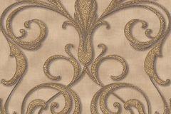 95892-1 cikkszámú tapéta.Barokk-klasszikus,különleges motívumos,arany,barna,bézs-drapp,súrolható,vlies tapéta