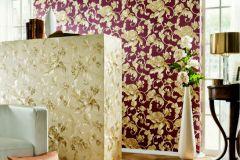 95983-2 cikkszámú tapéta.Barokk-klasszikus,különleges felületű,metál-fényes,természeti mintás,virágmintás,bézs-drapp,piros-bordó,vajszín,súrolható,vlies tapéta