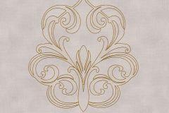 96983-2 cikkszámú tapéta.Különleges felületű,metál-fényes,barokk-klasszikus,arany,lila,szürke,súrolható,illesztés mentes,vlies tapéta