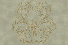 96983-4 cikkszámú tapéta.Barokk-klasszikus,különleges felületű,különleges motívumos,metál-fényes,arany,szürke,zöld,súrolható,illesztés mentes,vlies tapéta