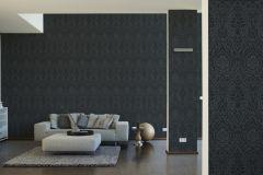 96195-9 cikkszámú tapéta.Barokk-klasszikus,valódi textil,fekete,szürke,gyengén mosható,vlies tapéta