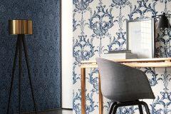 96196-4 cikkszámú tapéta.Barokk-klasszikus,valódi textil,fehér,kék,gyengén mosható,vlies tapéta