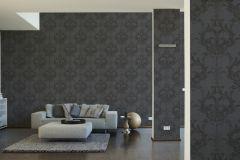 96196-6 cikkszámú tapéta.Barokk-klasszikus,valódi textil,fekete,szürke,gyengén mosható,vlies tapéta