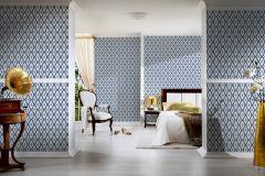 96197-4 cikkszámú tapéta.Barokk-klasszikus,valódi textil,fehér,kék,gyengén mosható,vlies tapéta