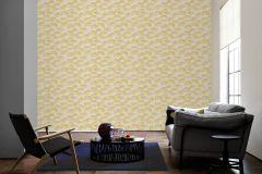 96198-2 cikkszámú tapéta.Barokk-klasszikus,természeti mintás,valódi textil,fehér,sárga,szürke,gyengén mosható,vlies tapéta
