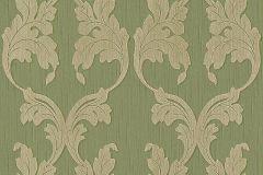 95628-4 cikkszámú tapéta.Barokk-klasszikus,különleges motívumos,természeti mintás,valódi textil,virágmintás,bézs-drapp,zöld,gyengén mosható,vlies tapéta