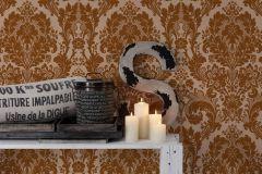 32750-1 cikkszámú tapéta.Barokk-klasszikus,csillámos,különleges felületű,bronz,narancs-terrakotta,lemosható,papír tapéta