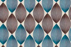 34067-2 cikkszámú tapéta.Geometriai mintás,retro,barna,bézs-drapp,kék,súrolható,papír tapéta