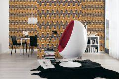 34067-3 cikkszámú tapéta.Geometriai mintás,retro,barna,bézs-drapp,narancs-terrakotta,súrolható,papír tapéta