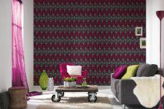 34067-4 cikkszámú tapéta.Geometriai mintás,retro,fekete,pink-rózsaszín,piros-bordó,szürke,súrolható,papír tapéta