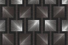 34068-1 cikkszámú tapéta.Geometriai mintás,különleges felületű,retro,ezüst,fekete,szürke,súrolható,papír tapéta