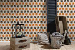 34068-2 cikkszámú tapéta.Geometriai mintás,különleges felületű,retro,bézs-drapp,ezüst,fekete,narancs-terrakotta,szürke,súrolható,papír tapéta