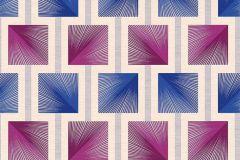 34068-3 cikkszámú tapéta.Geometriai mintás,különleges felületű,retro,bézs-drapp,kék,pink-rózsaszín,szürke,súrolható,papír tapéta