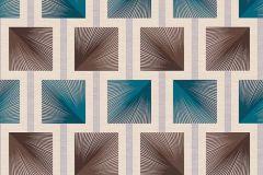 34068-4 cikkszámú tapéta.Geometriai mintás,különleges felületű,retro,barna,bézs-drapp,kék,szürke,súrolható,papír tapéta