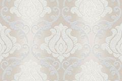 34860-2 cikkszámú tapéta.Barokk-klasszikus,csillámos,különleges felületű,bézs-drapp,ezüst,lemosható,papír tapéta